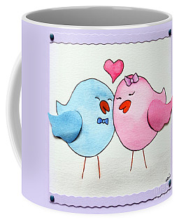 Cute Lovebirds Watercolour Coffee Mug by Terri Waters