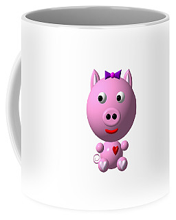 Coffee Mug featuring the digital art Cute Pink Pig With Purple Bow by Rose Santuci-Sofranko