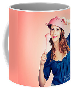 Coffee Mug featuring the photograph Cute Pinup Cook Thinking Up Colander Cooking Idea by Jorgo Photography - Wall Art Gallery