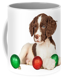 Cute Seven Week Old Puppy With Red And Green Christmas Ornaments Coffee Mug