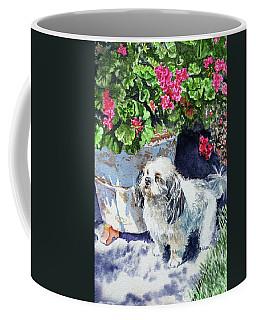 Cute Shih Tzu Dog Under Geranium  Coffee Mug