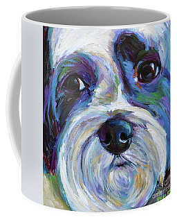 Coffee Mug featuring the painting Cute Shih Tzu Face by Robert Phelps