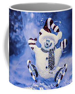 Cute Snowman In Ice Skates Coffee Mug