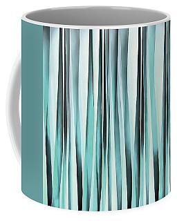 Cyan Blue Ocean Stripey Lines Pattern  Coffee Mug