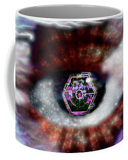 Coffee Mug featuring the digital art Cyber Oculus Cumulus by Iowan Stone-Flowers