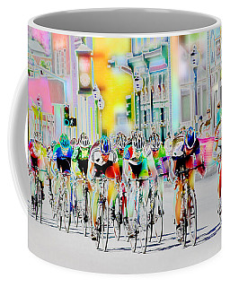 Cycling Down Main Street Usa Coffee Mug by Vicki Pelham