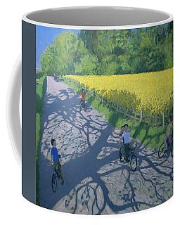 Cyclists And Yellow Field Coffee Mug