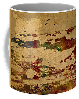 D Day Landing At Normandy France World War Two Watercolor On Old Canvas Map Of War Plans Coffee Mug