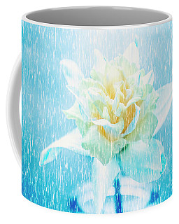 Daffodil Flower In Rain. Digital Art Coffee Mug