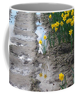 Coffee Mug featuring the photograph Daffodil Reflection by Karen Molenaar Terrell