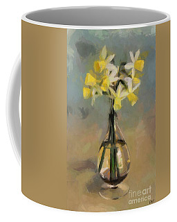 Daffodils In Glass Vase Coffee Mug
