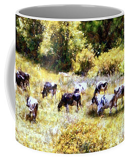Dairy Cows In A Summer Pasture Coffee Mug by Janine Riley