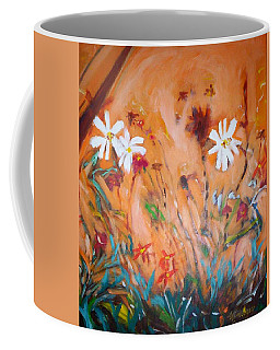 Coffee Mug featuring the painting Daisies Along The Fence by Winsome Gunning