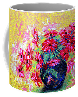 Daisies And Blue Vase Coffee Mug by Jasna Dragun