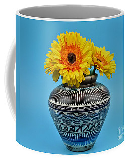 Daisies Displayed In Navajo Native American Vase Coffee Mug by Ray Shrewsberry