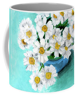 Daisies In Blue Bowl Coffee Mug