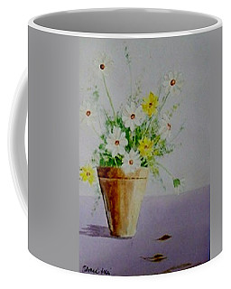 Coffee Mug featuring the painting Daisies In Pot by Jamie Frier