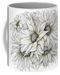 Coffee Mug featuring the drawing Sunflowers Pencil by Melinda Blackman
