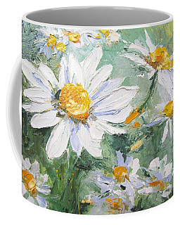 Daisy Delight Palette Knife Painting Coffee Mug