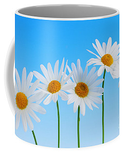 Daisy Flowers On Blue Coffee Mug
