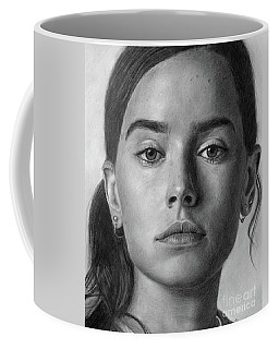 Daisy Ridley Pencil Drawing Portrait Coffee Mug