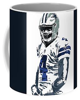 Coffee Mug featuring the mixed media Dak Prescott Dallas Cowboys Pixel Art 4 by Joe Hamilton