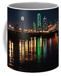 Coffee Mug featuring the photograph Dallas At Night by Kathy Churchman