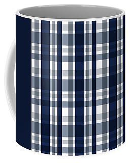 Dallas Sports Fan Navy Blue Silver Plaid Striped Coffee Mug