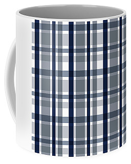 Dallas Sports Fan Silver Navy Blue Plaid Striped Coffee Mug