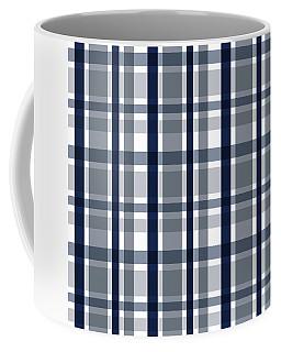 Dallas Sports Fan Silver Navy Blue Plaid Striped Coffee Mug