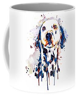 Coffee Mug featuring the mixed media Dalmatian Head by Marian Voicu