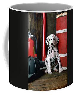 Dalmatian Puppy With Fireman's Helmet  Coffee Mug by Garry Gay