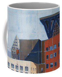 Coffee Mug featuring the painting Dam Public Library by Erin Fickert-Rowland