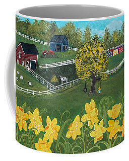 Coffee Mug featuring the painting Dancing Daffodils by Virginia Coyle