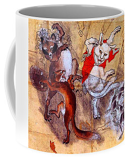 Japanese Meiji Period Dancing Feral Cat With Wild Animal Friends Coffee Mug by Peter Gumaer Ogden Collection