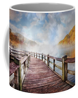 Coffee Mug featuring the photograph Dancing Fog At The Lake by Debra and Dave Vanderlaan