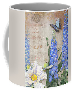 Dancing In The Wind - Damselfly N Morpho Butterfly W Delphinium Coffee Mug