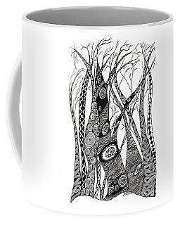 Coffee Mug featuring the drawing Dancing Trees by Barbara McConoughey