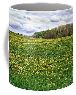 Dandelion Field With Barn Coffee Mug
