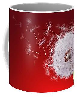 Dandelion Flying On Reed Background Coffee Mug