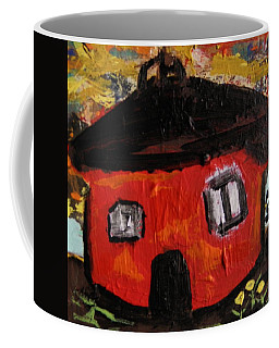 Dandelions By Red Barn By Mcw Coffee Mug by Mary Carol Williams