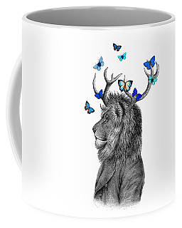 Dandy Lion With Antlers And Blue Butterflies Coffee Mug