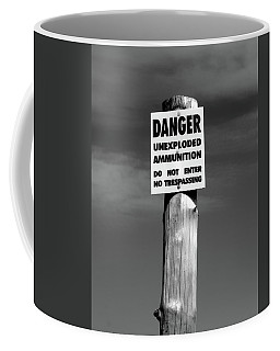 Danger In Black And White Coffee Mug by Barbara McMahon