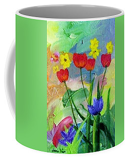 Coffee Mug featuring the painting Daria's Flowers by Jamie Frier