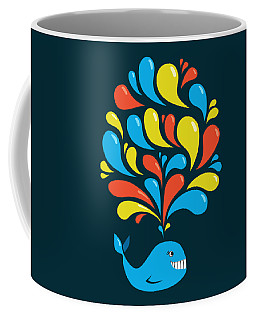 Dark Colorful Splash Happy Cartoon Whale Coffee Mug
