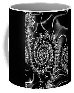 Dark Spirals - Fractal Art Black Gray White Coffee Mug