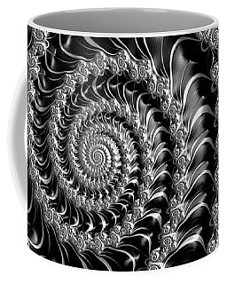 Dark Spirals - Fractal Art Black Gray White Coffee Mug