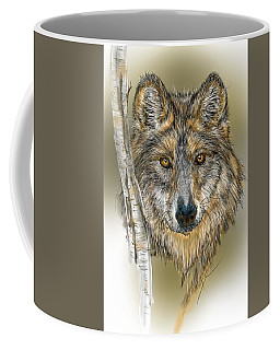Coffee Mug featuring the digital art Dark Wolf With Birch by Darren Cannell