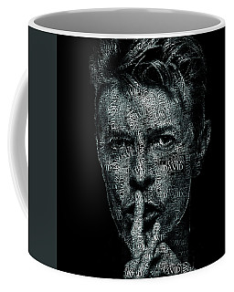 David Bowie Text Portrait - Typographic Face Poster Created With All The Album Titles By David Bowie Coffee Mug