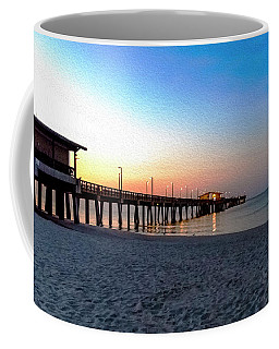 Dawn At Gulf Shores Pier Al Seascape 1283a Digital Painting Coffee Mug